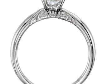 Certified Forever One Moissanite Engagement Ring ,Round Brilliant Cut Diamond Simulant Wedding Ring In Solid 14K White Gold ST233545