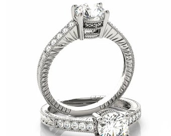 Certified Forever One Moissanite 14K White Gold Diamond ANTIQUE style Engagement Set -OV93966 (Other metals & stone options available)