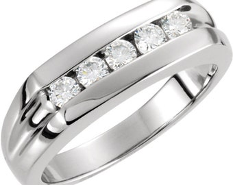 Natural Diamond Men's Ring Band Ring 14k White Gold