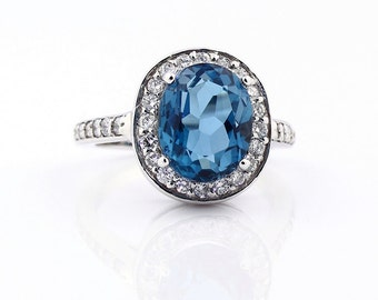 Natural SPARKLING London Blue Topaz Solid 14K White Gold Diamond Halo Ring