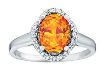 10x8mm Natural Yellow Citrine 14K White Gold Diamond Engagement Halo Ring  - OV95757