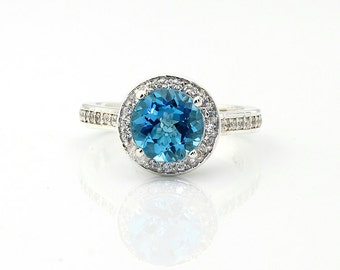 2.50 Cts Natural Swiss Blue  Topaz 14K White Gold  Diamond Engagement Halo Ring Set - Gem807