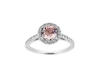 6.5mm Round Natural Morganite 14K White Gold Diamond engagement Ring ENR8904
