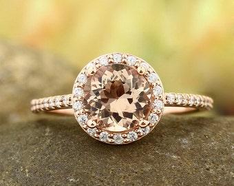14K Morganite Ring Diamond Halo Morganite Engagement Ring, Roes gold, 7mm gemstone - Gem1203  **** Specal****