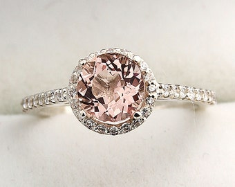 7mm Round Natural Morganite  1.30 ct  Solid 14K White Gold Diamond Engagement Ring - Gem830