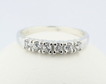 Natural White Sapphire 14k White Gold Wedding Band Ring---special