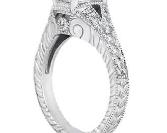 3/4ct  7x5mm Oval Forever One (GHI) Moissanite Diamond Vintage Engagement Ring ENR7894