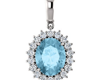 "Natural  10x8mm Oval  Aquamarine Solid 14K White Gold Diamond pendant with 18"" Cable chain"
