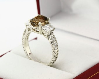 Natural AAA Greenish Yellow Tourmaline Solid 14K White Gold Diamond Ring