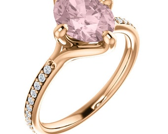 Natural AAA 10x8mm Oval Cut Morganite  Solid 14K rose  Gold Diamond Engagement Ring Set - ST233403
