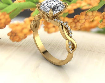 Solid 14K Gold Round Moissanite (DEF) Twisted Engagement Ring ,Diamond Ring ,Moissanite wedding ring  Gift For Her
