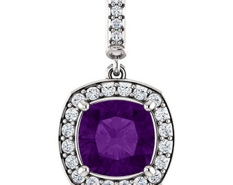 "Natural  8mm Cushion Purple  Amethyst  Solid 14K White Gold Diamond pendant with 18"" Cable chain- ST97183"