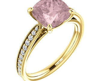 Natural AAA 8mm Antique Cushion Morganite  Solid 14K Yellow Gold Diamond Engagement Ring Set-ST82799