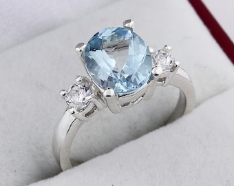 Three stones Natural AAA Aquamarine Solid 14K White Gold Diamond Ring-Gem767