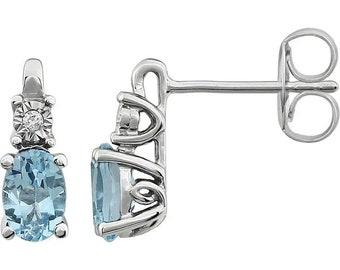 14K White Sky Blue Topaz &  Diamond Accented Earrings