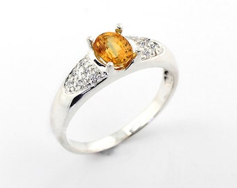Natural  Yellow Sapphire Solid 14K White Gold Diamond  Ring