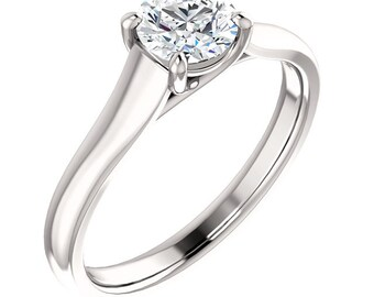 5.5mm Round Forever One (GHI) Moissanite 14K White Gold Diamond Engagement Ring ST233100