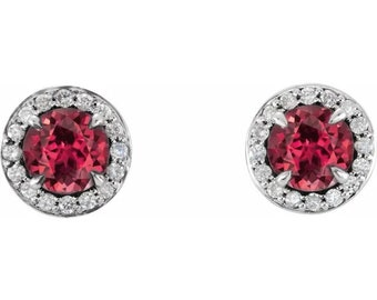 Natural Diamond & lab Created  Ruby Halo Earrings In 14K White/Yellow/Rose Gold