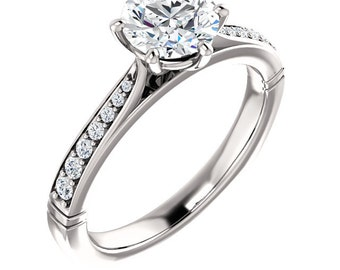 Ready To Ship-  Forever One Moissanite 14K White Gold  Engagement Ring Set With European Shank  Size 7