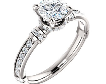 Certified center Natural White Sapphire Solid  14k white gold diamond  Engagement Ring Set ST82825