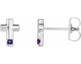 Ready to ship-Amethyst Cross Stud Earrings In 14k White/Yellow Gold, February Birthstone, Religious Earrings