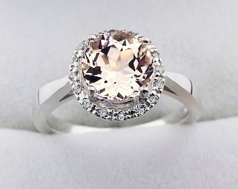 8mm  Round Natural  Morganite   Solid 14K White Gold Diamond engagement Halo Ring - Gem796