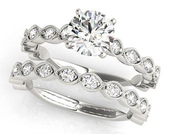 1ct  Forever Brilliant Moissanite 14K White Gold  Artdeco Style Engagement  Ring Set  - OV61059