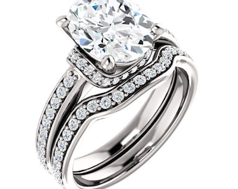 Forever One (GHI) Moissanite 10x8mm Oval  14K White Gold  Engagement Wedding  Ring Set - ST233615 (Other metals and stone options available)