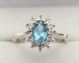 Natural  7x5MM Swiss Blue Topaz Solid 14K White Gold Ring