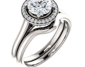 1 ct Forever One Moissanite Colorless (D-E-F) Solid 14K White Gold  Halo-Styled  Engagement Ring,Bridal Ring Set -ST82837