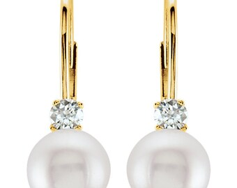 14K Yellow gold White 6mm round Akoya Cultured Pearl & Diamond Lever Back Earrings-ST72151