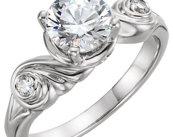 1.0  ct Forever One (GHI) Moissanite Solid 14K White Gold Diamond Sculptural Engagement Ring - ST233629