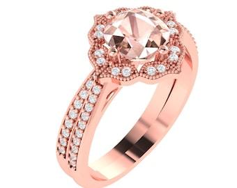 AAA Cushion Morganite Engagement Ring Set  Diamond Wedding Ring Set Vintage Floral style In 14k Rose Gold Gem1224