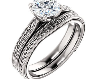 Vintage Style Solitaire Engagement Ring, Certified  Forever One Moissanite Colorless Solitaire  Engagement Ring in 14K White Gold  ST234154