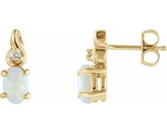 Opal & Diamond Stud  Earrings In 14K Yellow Gold
