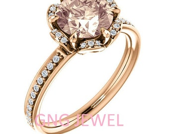 Natural AAA 8mm  Round Morganite  Solid 14K Rose  Gold Floral Inspired Diamond  Engagement Ring Set-ST232008