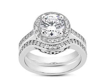 1 carat 6.5mm Round Forever One (GHI) Moissanite Solid 14K White Gold Diamond Halo Engagement  Ring set ENS4285
