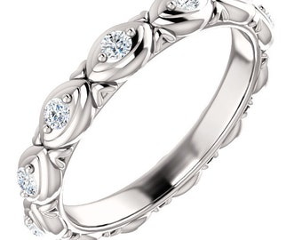 1/4 ct Natural Diamond Full Eternity Sculptural  Wedding Band Ring Aniversary Ring in 14k White Gold ST233441