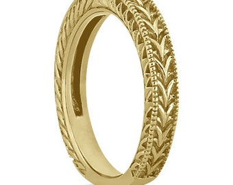 Antique Engraved Wedding Band w/ Filigree & Milgrain 14k Yellow  Gold ****Special for you*****-ENS2898