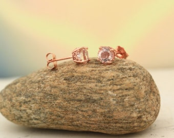 AAA Morganite Earring, Fancy  Scroll Earrings 14k Rose Gold Morganite Stud Earrings 7mm Round Post Earring  P128