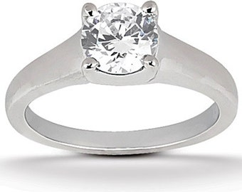 1 ct 6.5mm  Round Forever One (GHI) Moissanite Solid 14K White Gold  Solitaire  Engagement Ring-ENR541