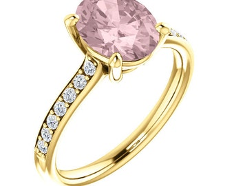 Natural AAA 10x8 mm Oval  Morganite  Solid 14K Yellow Gold Diamond  Engagement Ring Set-ST82772