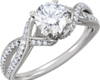 6.5mm  1 ct  Round  Forever One (GHI) Moissanite Solid 14K White Gold Diamond  Engagement  Ring   - ST233300
