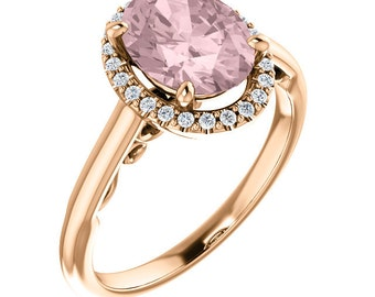 AAA Morganite Engagement Ring Diamond Wedding Ring Vintage Floral Ring In 14k Rose Gold Center 9x7mm Oval  ST234193