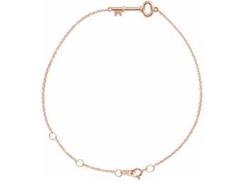 """14K Rose Petite Key 6 1/2-7 1/2"""" Bracelet"""