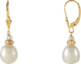 14K  Yellow Gold  Freshwater Cultured Pearl Dangle Earrings--- ST76107