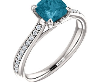 Natural AAA 6mm cushion cut London blue Topaz  Solid 14K white Gold Diamond Engagement Ring Set-ST82823