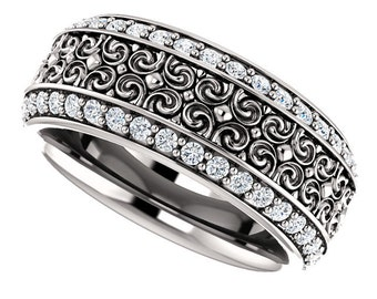 14K White Gold Natural Diamond Sculptural-Inspired Full Eternity Wedding Band ST233512
