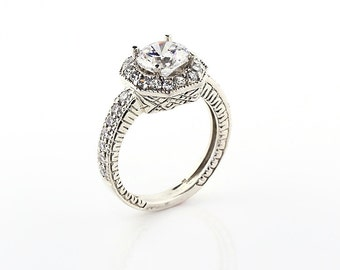 Stunning AAA 7mm White Sapphire Solid 14k white gold diamond Engagement Ring-Antique Gem590