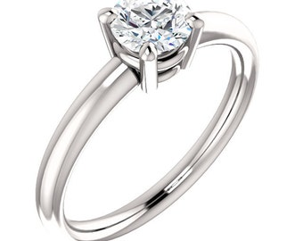 5.5mm Round  Forever One (GHI) Moissanite 14K White Gold Diamond Engagement Ring -ST233342